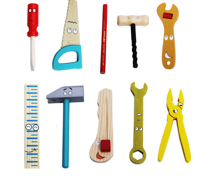 새로운 나무 장난감 교육 장난감 나무 도구 세트 - 역할연기 - 사진 2