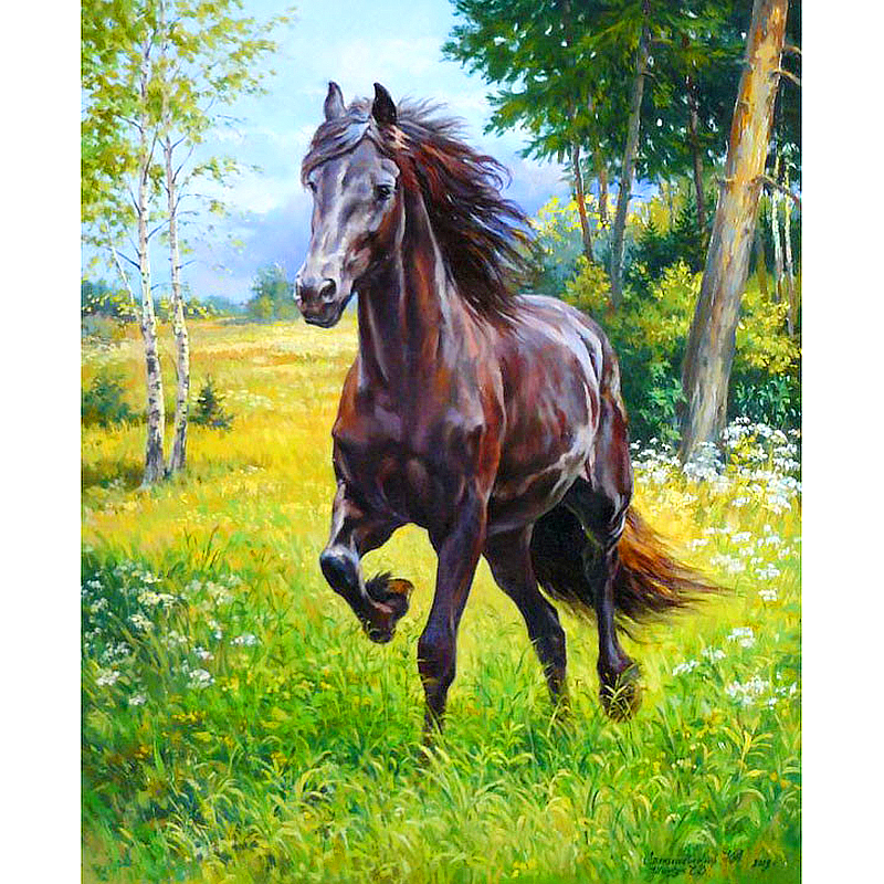 5D DIY Diamond embroidery forest running horse diamond painting Cross Stitch full drill Rhinestone mosaic decor painting Crafts