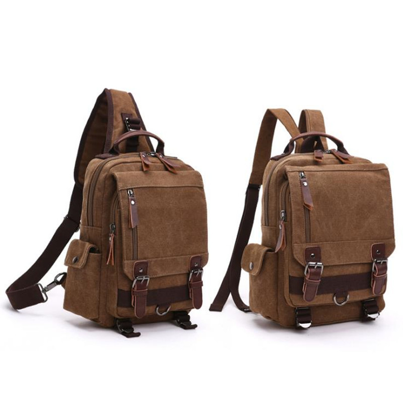 Canvas Crossbody Bags For Men Women Retro Leather Military Messenger Chest Bags Shoulder Sling Bag Large Capaccity Handbag