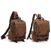 Canvas Crossbody Bags for Men Women Retro Leather Military Messenger Chest Bags Shoulder Sling Bag Large Capaccity Handbag