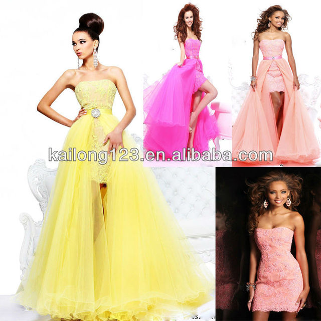 2a8e816029a1c Graceful Strapless Short Fitted Yellow Coral Fuchsia Lace Dress With Full  Tulle A-line Detachable Prom Dresses