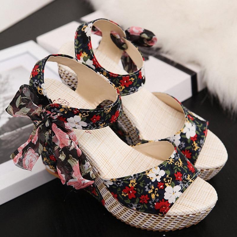 Women Summer Wedge Sandals Female Floral Bowknot Platform High Heel  Fashion Bohemian Ankle Strap Open Toe Ladies Shoes 9