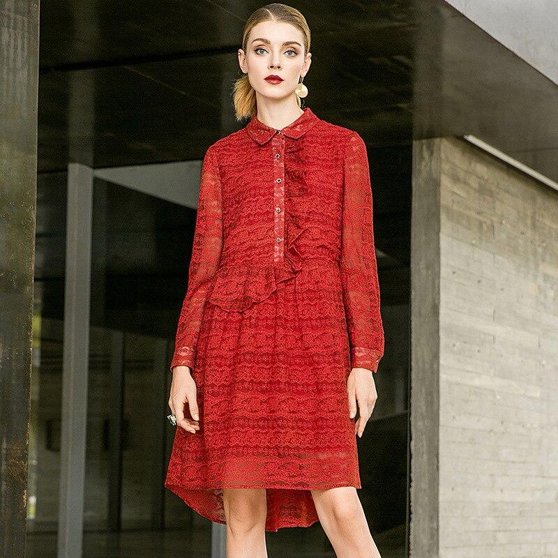 Parti Mini Lâche Robe Rouge Baissez Automne Nouvelle Complet Femmes Collier Ligne 2018 Soie Broderie Manches Organza Une Solide wtYFqt