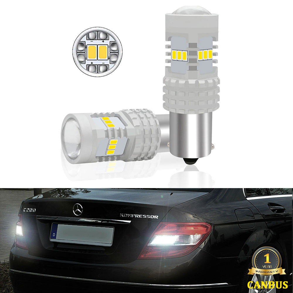 CANbus White P21W LED Car Reverse Backup Lights For <font><b>Mercedes</b></font> C Class 2000-2014 W203 W204 C180 C200 C250 C63 C280 <font><b>C300</b></font> C320 C350 image
