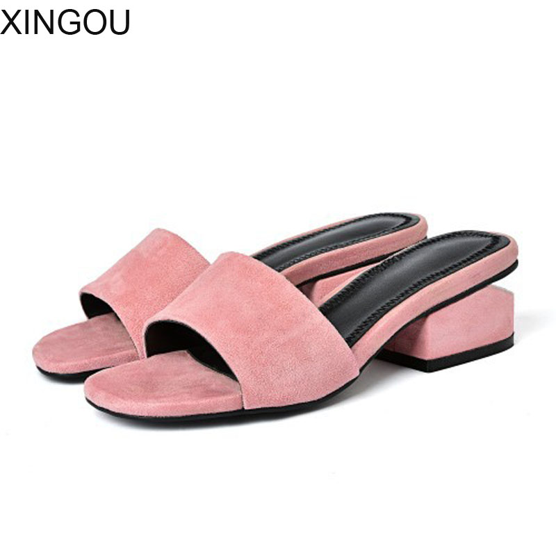Fashion 2018 new leather women sandals and slippers female Med-heeled slippers comfortable women's slippers Square heel sandals 2018 new high end leather comfortable feet sandals classic sandals handmade leather slippers handmade leather slippers