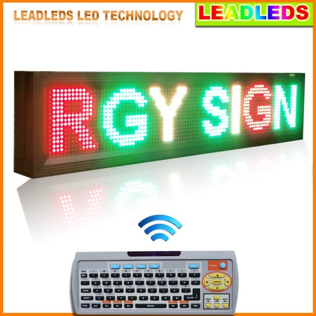 104x24x9cm LED Display RGY 3 Color Ultra Brightness Remote Led Display Sign Board For Outdoor Window Display Commercial Lighting