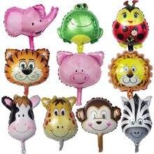 8 sztuk Mini balony w kształcie zwierząt dekoracje na przyjęcie urodzinowe dla dzieci prezenty zabawki dla dzieci lew małpa Zebra jeleń krowa głowa zwierzęcia balon dmuchany