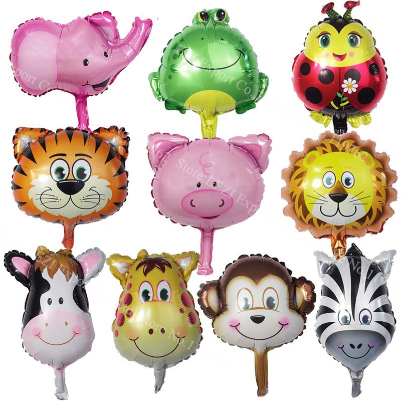8pcs Mini Animal Foil Balloons birthday party Decor baby presents kid toys Lion Monkey Zebra Deer Cow Animal Head Air Balloon