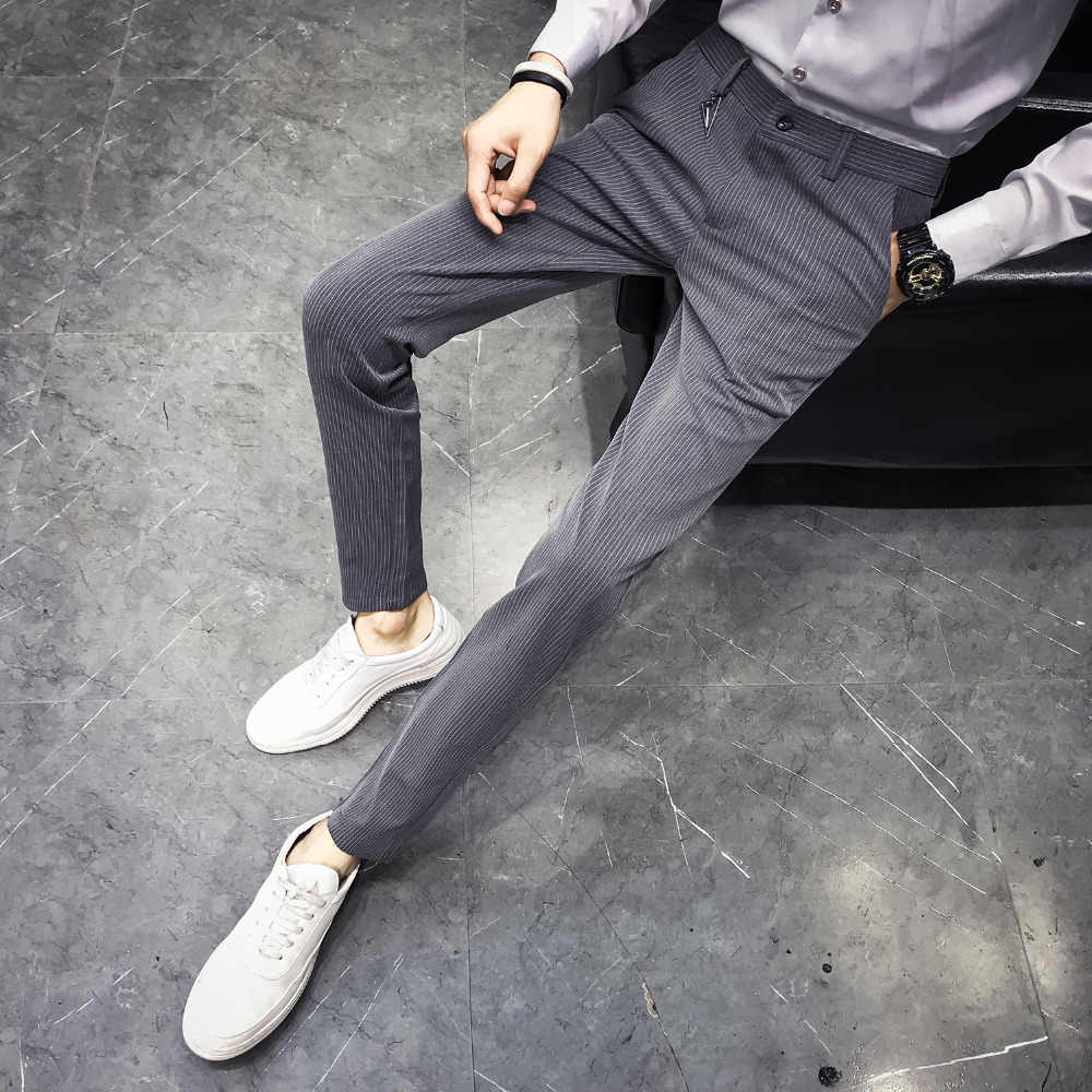 Pantalones de hombre de alta calidad a estrenar Slim Fit Casual vestido pantalón hombres negocios Formal desgaste rayas pantalones ropa de hombre 2018 33-28