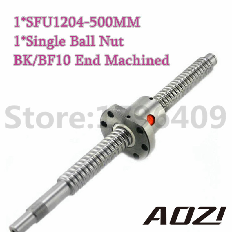One Set Ball Screw Kit 1pc SFU1204 With 500mm Leng End Machining For BK/BF10 +1PC High Qaulity Ballnut Free Shipping