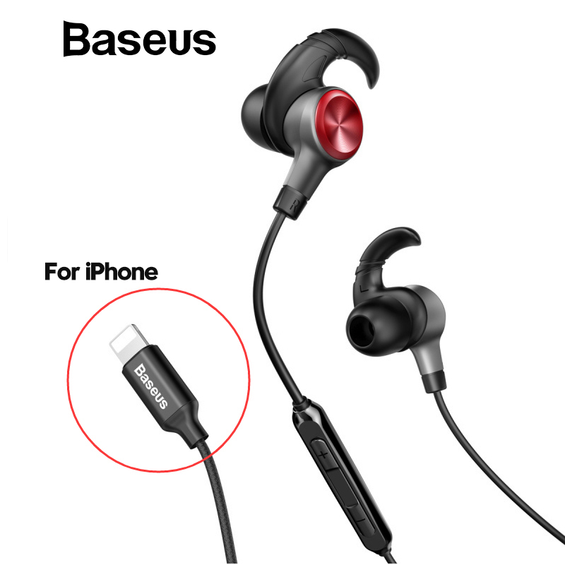 Baseus Hifi Earphone For lightning iPhone 7 7Plus Stereo Headset In Ear Handsfree Earbuds With MIC 8pin Wired Earphone iphone xi earphone