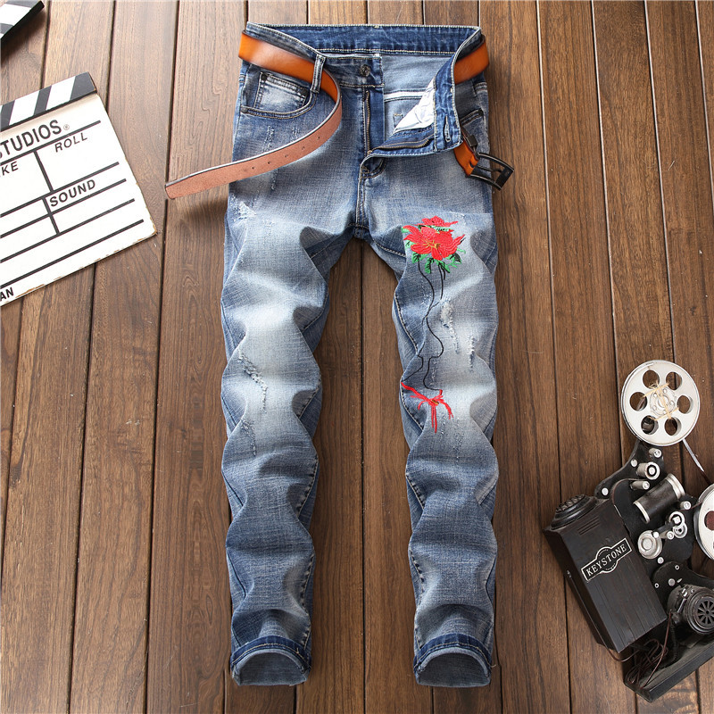 Red Flower Embroidery Man Jeans New Blue Slim Long Denim Trousers F13