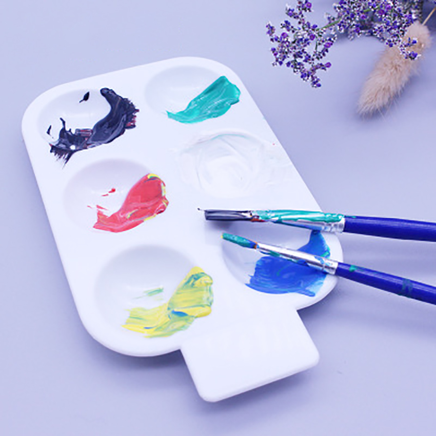 Circle Watercolor Painting Palette Plate 6 Grids Plastic Color Paletter Pallet Children Portable Drawing Tray Art Supplies