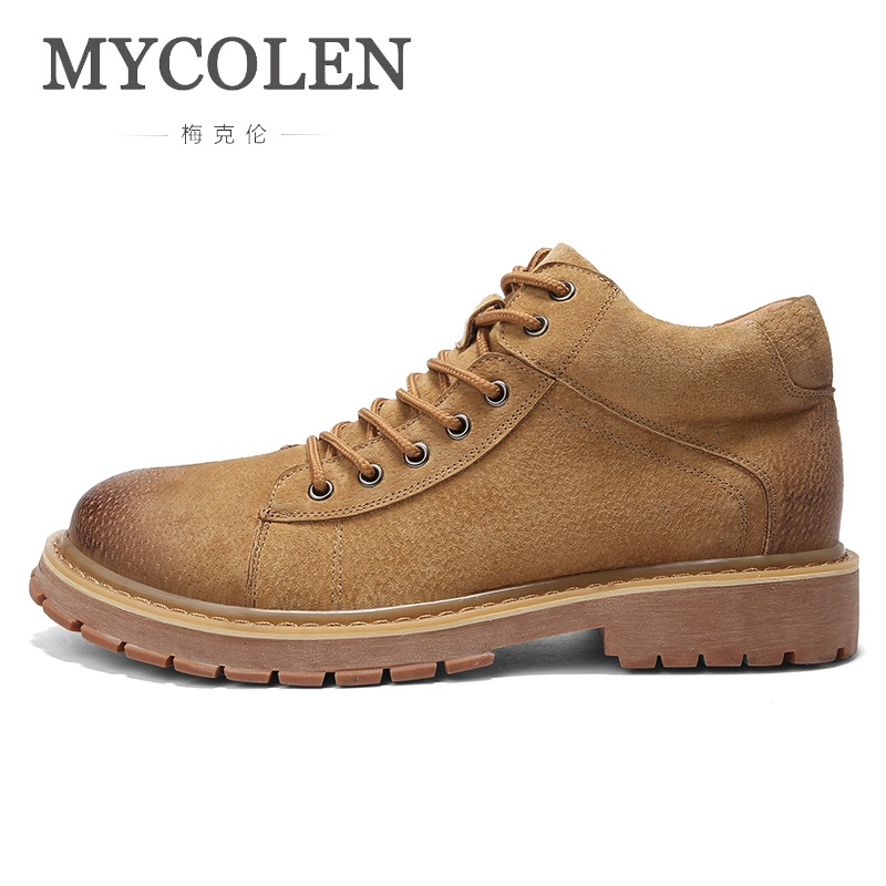 MYCOLEN High Quality Genuine Leather Spring/Autumn Men Boots Luxury Fashion Ankle Boots Outdoor Working Boots Men Shoes 2018 fashion new men ankle martin boots basic high quality real genuine leather spring autumn luxury brand man black shoes 38 44
