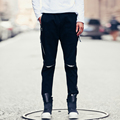 2017 весна новые люди случайные штаны молния декоративные колен сломанный отверстие мужская мода slim fit брюки street hip hop черный брюки