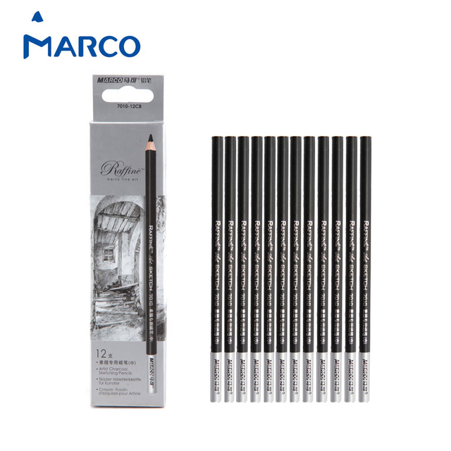 Marco Fine Art 12 Pieces/Box Artist Charcoal Sketching Pencil Wooden Non toxic Pencil for Drawing