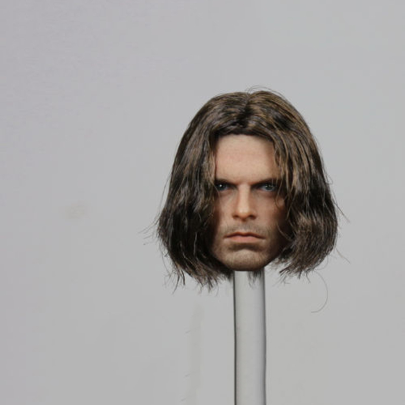1/6th Captain America Winter Soldier Bucky Head Sculpt Planted Hair Head Model 1 6 atx022 civil war captain america winter soldier bucky figure and clothing set