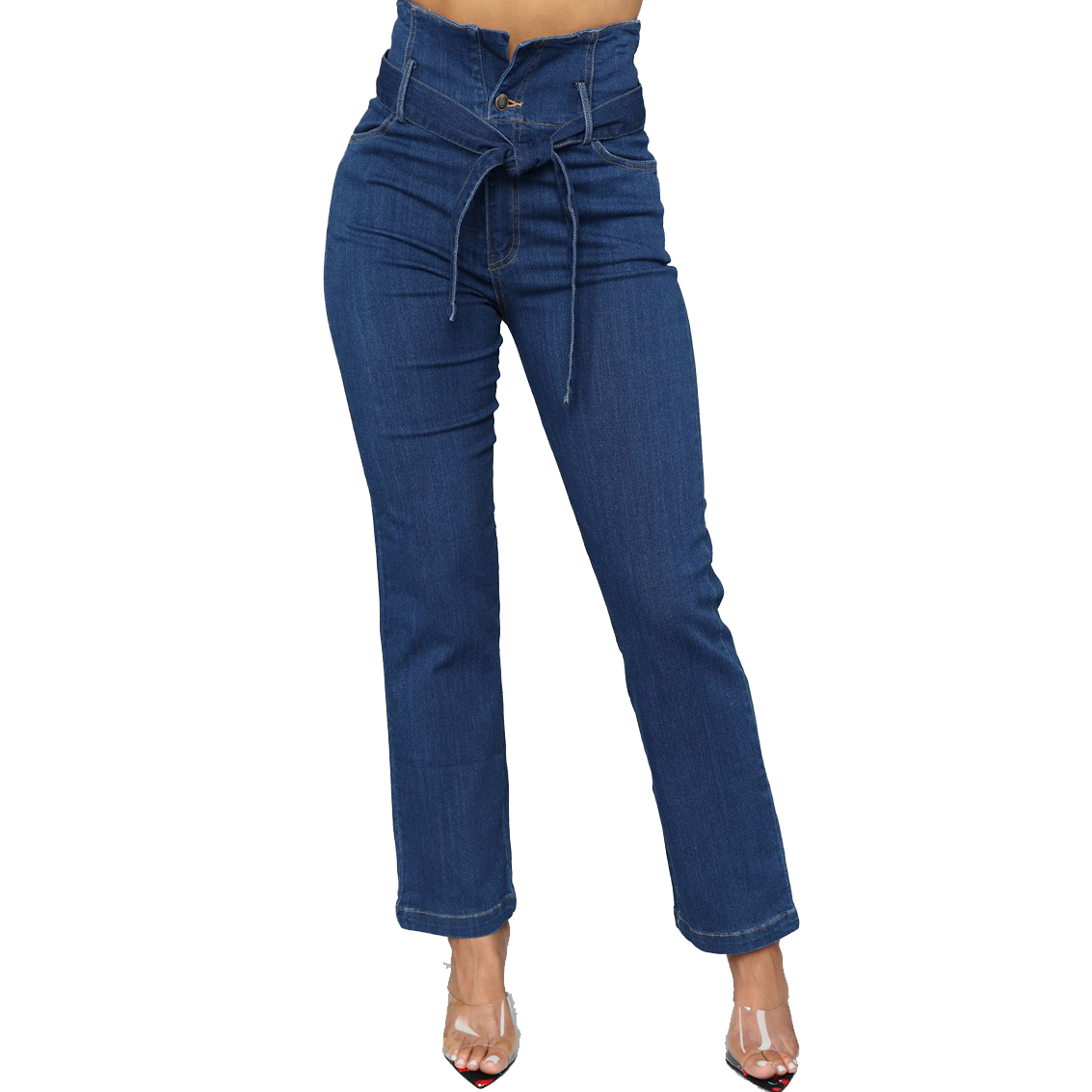 Ripped hole fashion Jeans Women High Waist wide leg Denim Pants Stretchy Stretch embroidery sexy women Jeans loose fit jeans