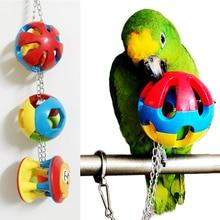 Pet Птица Пластиковые жевательные мяч цепная клетка игрушка для попугая Cockatiel Parakeet