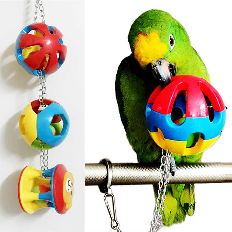 Pet Bird Plastic Chew Ball Chain Cage Toy for Parrot Cockatiel Parakeet
