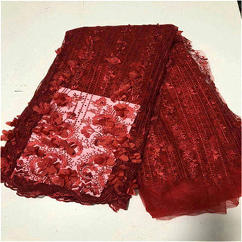 High Quality 2019 African French Net Lace Fabric with beads Stones French Tulle Lace Embroidery Lace Material for Women Dress