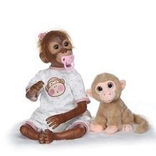New 21inch 52CM Full Silicone Monkey Reborn Doll Baby girl Dolls soft Boneca flexible Collectible art doll Gifts