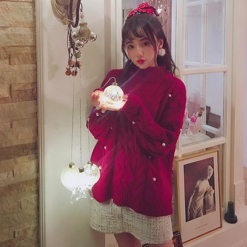 Księżniczka słodki lolita sweter Bobon21 boże narodzenie dziewczyny serce duże perły urządzone z skręcone pół wysoki kołnierz sweter T1708 w Pulowery od Odzież damska na  Grupa 1