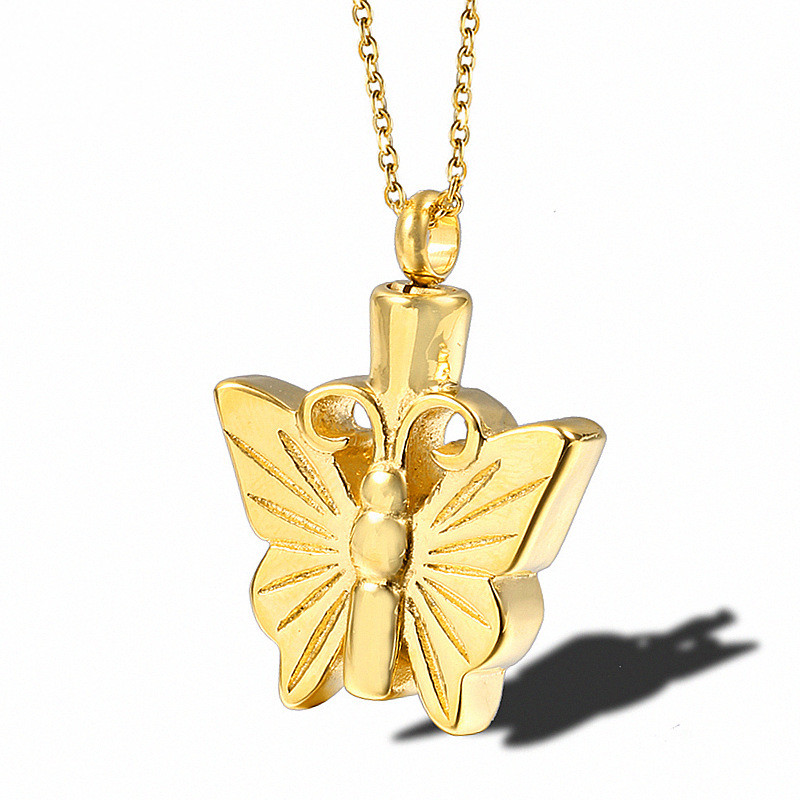 Butterfly Necklace Gold Plated Pendant Small Animal Cremation Memorial Perfume Bottle Necklace Ashes Urn Funeral Keepsake