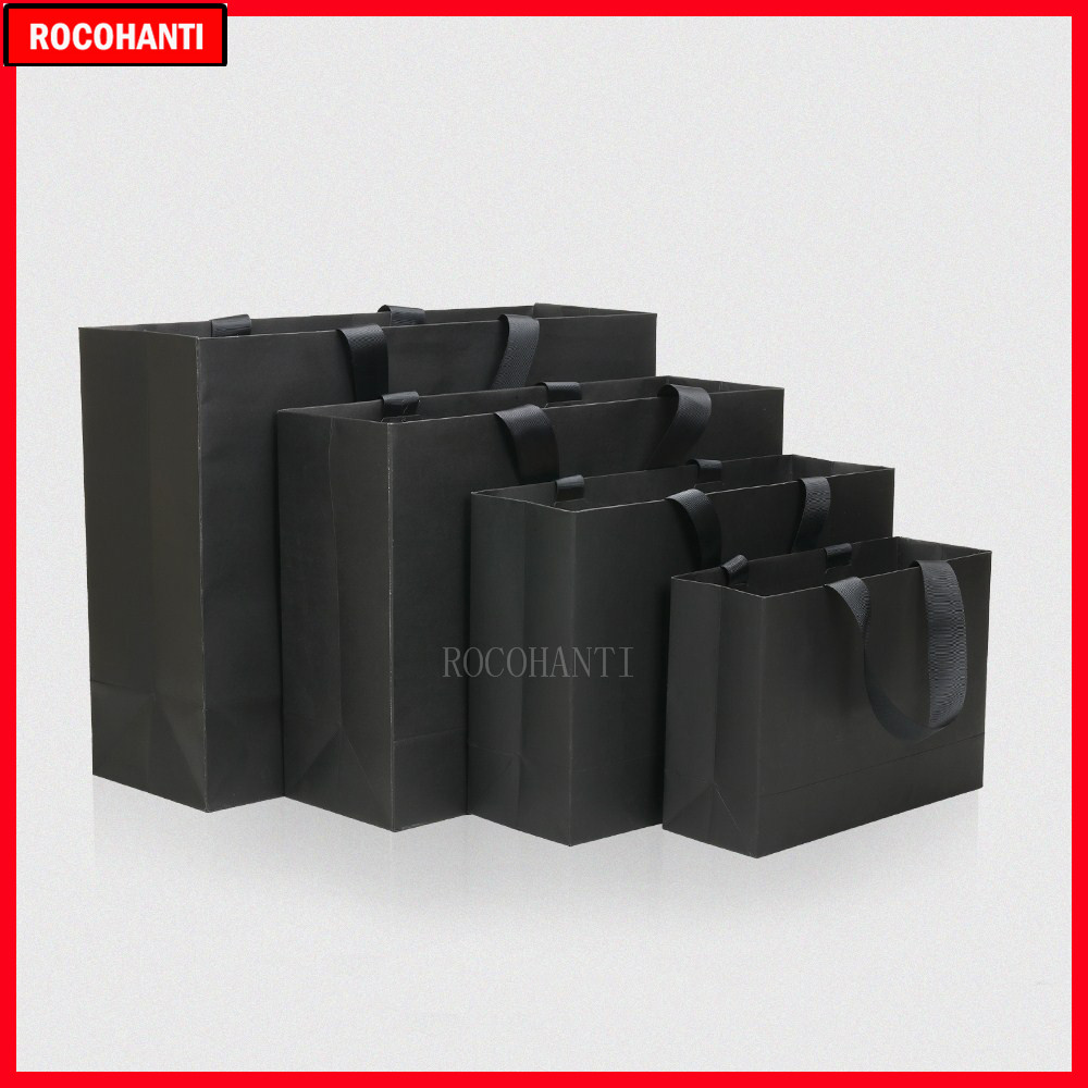 50X Custom Printed Screw Thread Rope Handle Type Matte Black Paper Bag For Advertising Gift Shopping Bags With Your Own Logo