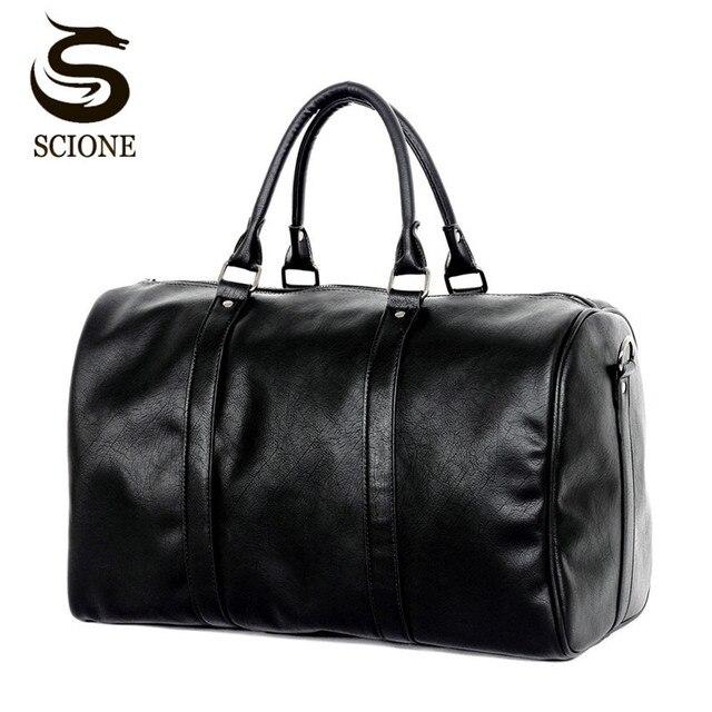 Модные большие дорожные винтажные сумки для мужчин/женщин из искусственной кожи 2018