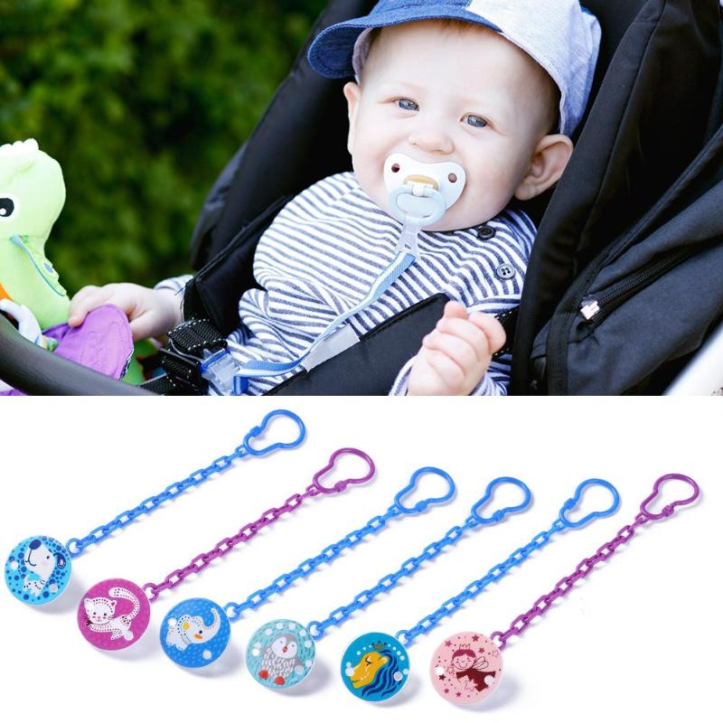 Baby Pacifier Chain Soothers Clip Holder Cartoon Animal Feeding Product Safe Soother Teether Clips Anti-lost Infant Pacifiers