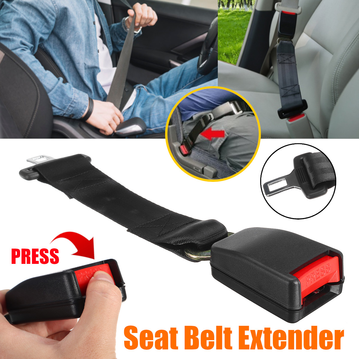 1PC Universal Longer 36cm 14''Car Seat Belt Extender Safety Belt Plug Buckle Seat Belt & Padding Extender Safety Buckle Receiver