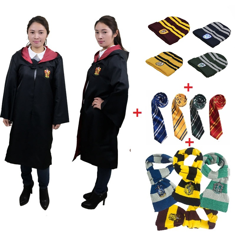 Kids Adult Harri Potter Cosplay Robe Cloak Scarf Gryffindor Slytherin Hufflepuff For Adult Kids Halloween Cosplay Costume