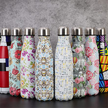 Floral Printed Water Bottle Double Wall Stainless Steel Vacuum Insulated Beer Milk Cup Leak-proof Travel Thermos 300ml baby feeding thermos cup cute dog vacuum milk cup with bells girl stainless steel insulated cup leak poof hot water bottle