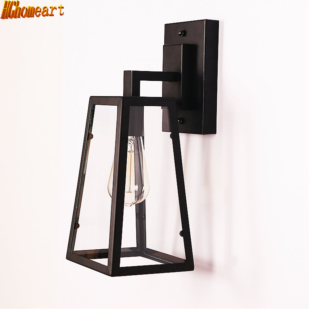 American rural retro wall lamp Nordic industrial loft sconce creative restaurant bar aisle bedside lamp outdoor wall light e27
