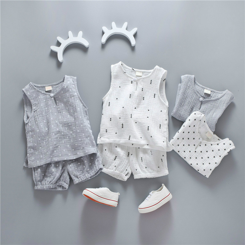 Fashion Boys Girls Clothing Sets Summer Children Small Stars Printing Sport Suits Sleeveless T-shirt + Pants Kids Tracksuit Set baby girls boys children sets clothing summer sunflower t shirts pants cotton sleeveless kids costume boy clothing suits cs035