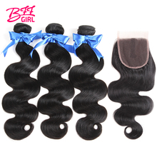 hot deal buy bff girl brazilian body wave hair weave 3 4 bundles with closure human hair bundles with 4*4 lace closure non remy extensions