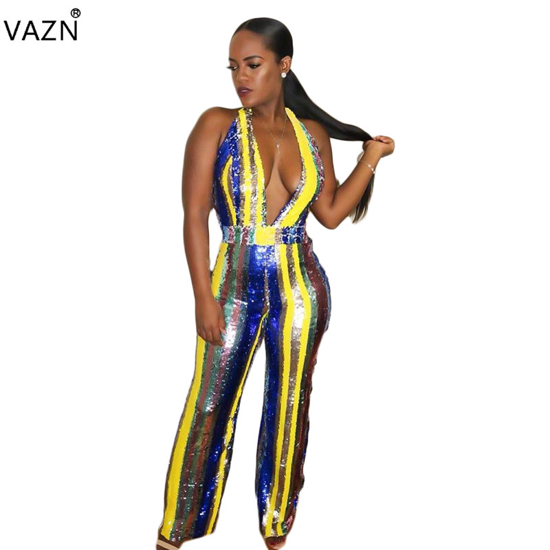 VAZN 2018 New Arrive Sexy Deep V-Neck Sleeveless   Jumpsuits   Women Backless Wide Leg   Jumpsuits   Ladies Sequined   Jumpsuits   KM1067
