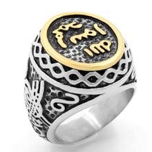 Vintage Silver Black Tibetan Punk Rings Glod Round Ring Retro Rock Vampire Skull Men Fashion Jewelry
