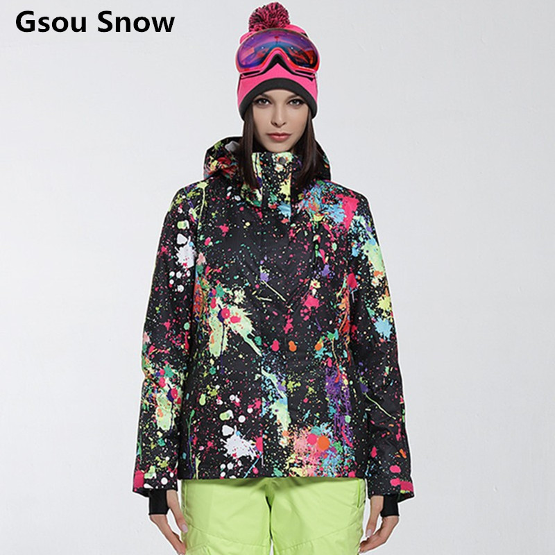 Gsou Colorful Ski Jacket Women Warm Snowboard Jacket Snow Coat Skiwear Winter Mountain Skiing Suit for Women brand gsou snow technology fabrics women ski suit snowboarding ski jacket women skiing jacket suit jaquetas feminina girls ski