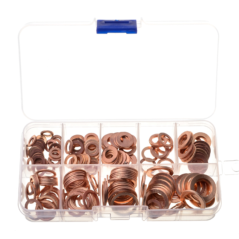 200pcs 9 Sizes Copper Washer Gasket Set Flat Ring Seal Kit Set With Box M5/m6/m8/m10/m12/m14 For Generators Machinery Sale Price Fasteners & Hooks