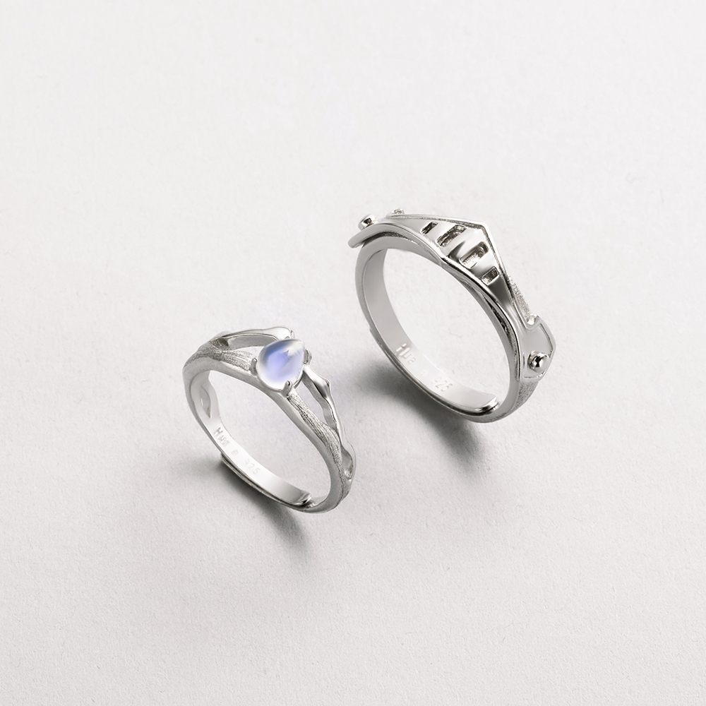 Thaya Natural Blue Light Moonstone Rings Lovers' Romantic Ring 100% S925 Silver Armour Bands For Women Vintage Elegant Jewelry