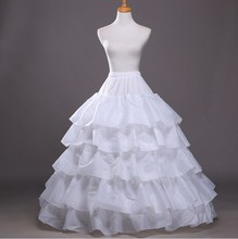 2016 nova uma longa linha de anáguas para vestido de noiva chão 5 Hoop crinolina Ruffles Petticoat Underskirt acessórios do casamento(China (Mainland))