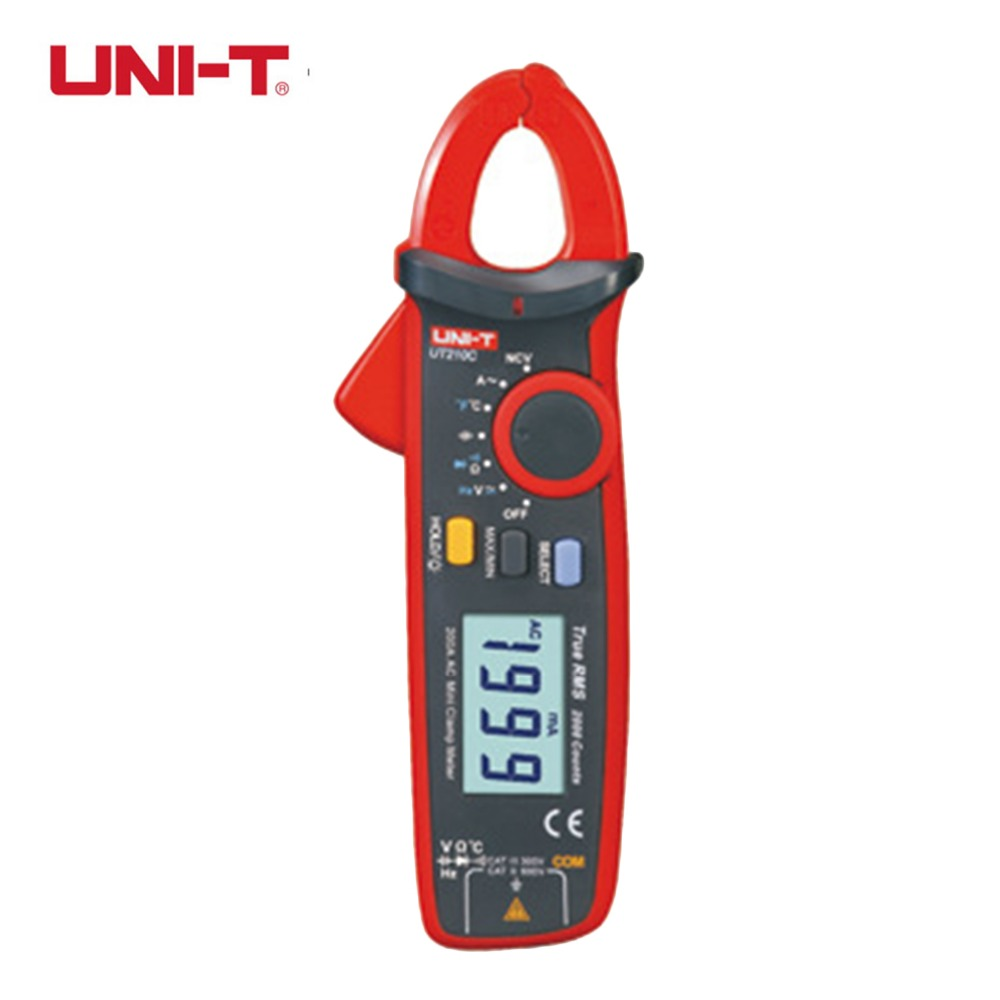 UNI-T Mini Digital Clamp Meter UT210C Ture RMS Auto Range Capacitance Clamp Multimeters Megohmmeter Temperature Multitester professional uni t 2000a auto range data hold lcd backlight digital clamp meters multitester ut220 megohmmeter