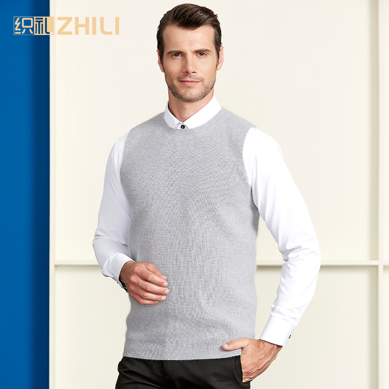 High Quality 100% Cashmere Mens Crew Neck Sleeveless Argyle Sweater Vest 2018 New Fashion
