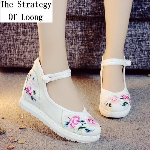 2019 New Women Canvas Increasing Height Ankle Strap Spring Autumn Shoes China Style Vintage Embroiders Wedges Heels Lady Shoes Lahore