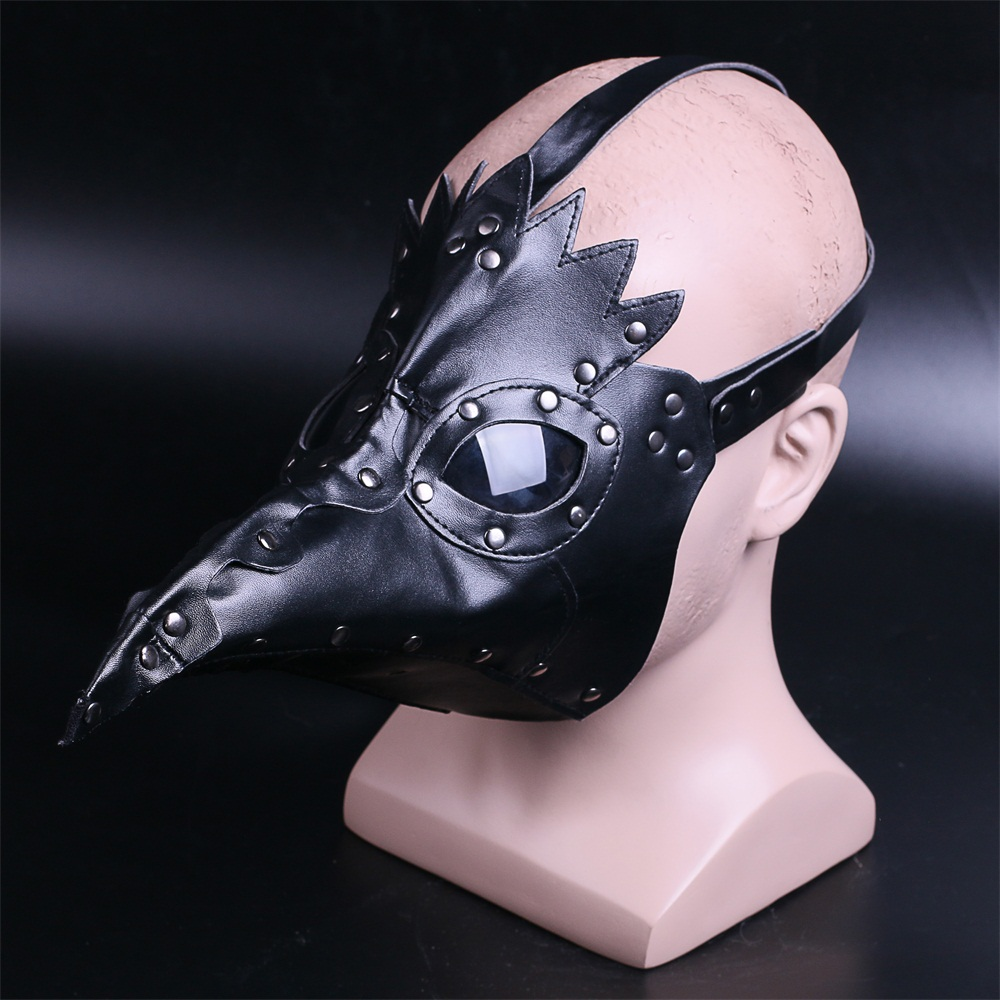 plague doctor mask Beak Doctor Mask Long Nose Cosplay Fancy Mask rivet Gothic Retro Rock Leather Halloween beak Mask