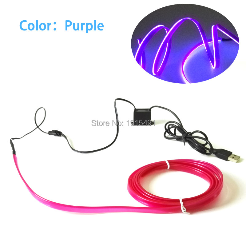 Promotion!Colorful DC5V 5M 2.3mm Skirt Led Strip Neon EL Rope Tube Popular Purple Attractive Car Interior Atmosphere Lamp Decor