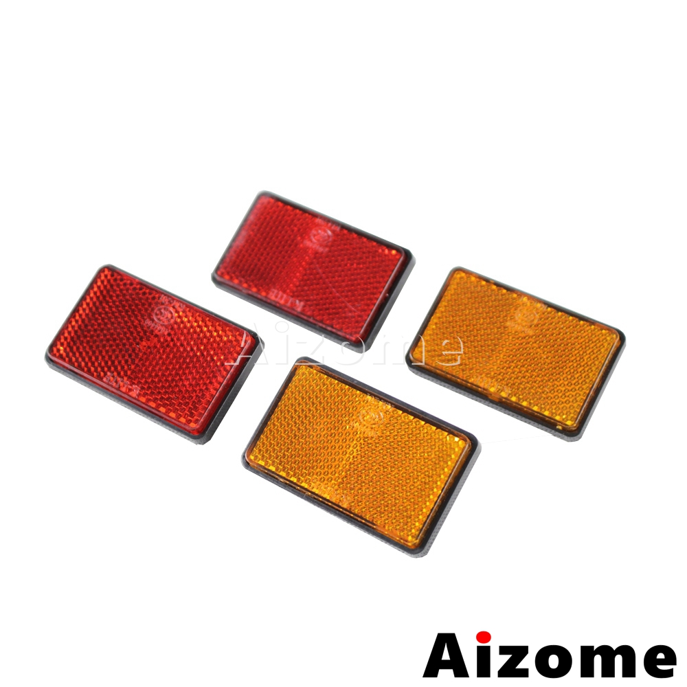 2x Yellow Reflector White Blue Red Reflectors For Motorcycle Truck ATV Dirt Bike Car Reflectors Safety Warning bande réfléchissante scooter orange pour fourche