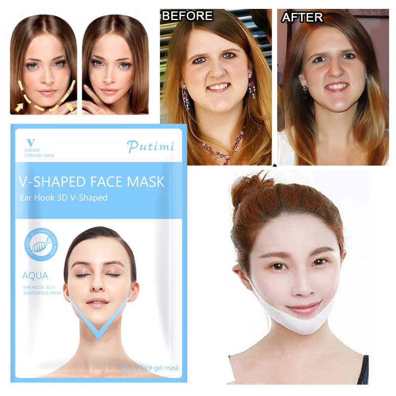 PUTIMI 5pcs Lifting Firming Face Mask Slimming V Face Gel Sheet Mask for the Face Shaper Anti Aging Moisturizing Peel off Mask in Treatments Masks from Beauty Health
